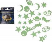 Glow in the dark planeten en sterren 24 stuks