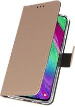Wallet Case Hoesje voor Samsung Galaxy A40 Goud
