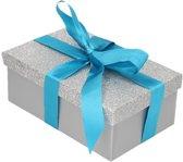 Cadeau gift box set - zilver glitter cadeaudoosje 22 x 14 cm en turquoise kadolint - kadodoosjes / cadeauverpakking
