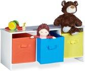 relaxdays - kinderbankje met opbergruimte - bankje met speelgoedkist, vouwkisten