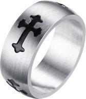 RVS Heren ring met zwart kruis-18mm