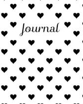 Journal: Black and White Heart 8x10 inch 102 pages