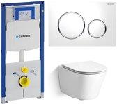 Dowa Calo Rimless & Geberit Duofix + Geberit Sigma 20 Wit/Chroom Toiletset