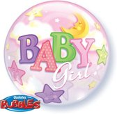 Qualatex - Folieballon - Bubbles - Baby girl - Zonder vulling - 56cm