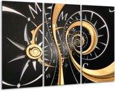 Glasschilderij Abstract   Zwart, Goud, Wit   120x80cm 3Luik   Foto print op Glas    F001666