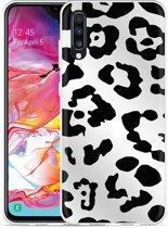 Galaxy A70 Hoesje Luipaard Zwart Wit