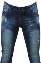 Hakkers Paris - Heren Jeans - White Wash - Slim Fit - Stretch - Lengte 34 - Donker Blauw