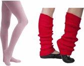 Ballet Beenwarmer Rood ribbel 40cm en Balletmaillot Lichtroze - Maat 98/110
