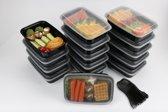 FoodGrade Meal Prep Bakjes - 1 Compartiment - 1000 ml - 15 Stuks inclusief SPORKS - Zwart/Transparant