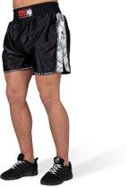 Gorilla Wear Henderson Muay Thai / Kickboxing Shorts - Zwart/Grijs - L
