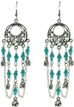 Oorbellen hangers zilver kleur met blauwe kraaltjes