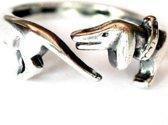 Verstelbare -Teckel- ring- Verzilverd