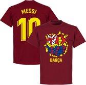 Barcelona Messi 10 Gaudi Logo T-Shirt - Bordeaux Rood - XXL