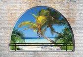 Fotobehang Beach Tropical Island Arch View | XXXL - 416cm x 254cm | 130g/m2 Vlies