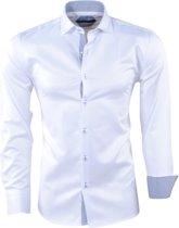 Pradz - Heren Overhemd - Gestreepte Kraag - Slim Fit - Wit