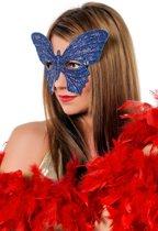 Masker vlinder medium blauw/zilver
