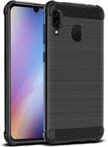 Luxe Carbon Backcover voor Samsung Galaxy A40 - Zwart - TPU - Geborsteld - Versterkte Randen