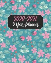 2020-2021 2 Year Planner: Cute Blue Floral, 24 Months Calendar Agenda January 2020 to December 2021 Schedule Organizer With Holidays and inspira