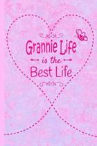 Grannie Life Is The Best Life: Grandma Journal 6 x 9 120 page Lined Pink Marble Notebook Butterfly Heart Design for Daily Diary Writing or Notepad -