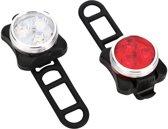 USB oplaadbare LED fietsverlichting + GRATIS opbergzak- zwart - voor-en achterlicht - fietslamp - fietslicht - USB oplaadbaar