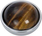 Top part brown amber stone - Zilverkleurig