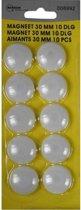 Koelkastmagneet - Whiteboard magneet - 30mm - Wit - 10 stuks