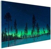 Noorderlicht achter bomen  Glas 120x80 cm - Foto print op Glas (Plexiglas wanddecoratie)