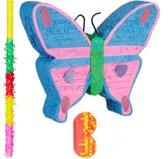 relaxdays 3-delige pinata set vlinder - pinata stok en blinddoek - butterfly Piñata
