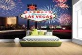 Las Vegas welkomsbord met vuurwerk Fotobehang 380x265
