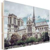 Uitzicht op de kathedraal Notre-Dame in Parijs Vurenhout met planken 90x60 cm - Foto print op Hout (Wanddecoratie)