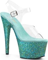 EU 39 = US 9 | ADORE-708LG | 7 Heel, 2 3/4 PF Ankle Strap Sandal W/ Glitter Bottom