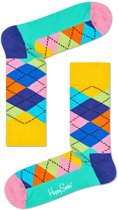 Happy Socks Argyle Sokken - Zwart/Multi - Maat 41-46