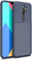 Oppo A5 / A9 2020 Siliconen Carbon Hoesje Blauw
