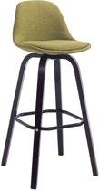 Clp Design retro barkruk AVIKA -  barstoel met kuipzitje, leuning en voetsteun, stof - groen, houten onderstel, kleur cappuccino
