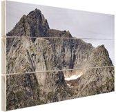 Bergtop Hout 80x60 cm - Foto print op Hout (Wanddecoratie)