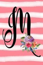 Monogram M Notebook: 6x9 Blank Lined 120 Page Ladies Personalized Initial Writing Journal, Coral Pink Floral Watercolor Gift Book For Women