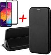 Samsung Galaxy A30s Hoesje + Screenprotector Full Screen - Book Case Flip Wallet - iCall - Zwart