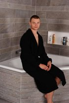 Bamboe sauna badjas - ochtendjas - duster - kamerjas zwart - dames - heren - unisex - XS