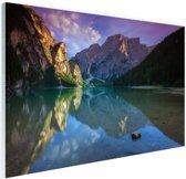 Meer tussen de bergen Glas 120x80 cm - Foto print op Glas (Plexiglas wanddecoratie)