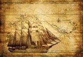 Fotobehang Vintage Ship Map | XL - 208cm x 146cm | 130g/m2 Vlies