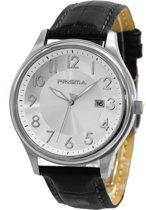 Prisma Herenhorloge P.2630 Lederen band Zilver