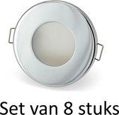 Dimbare Phillips 5W GU10 Badkamer inbouwspots Zilver rond | Extra warm wit (Set van 8 stuks)