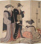 Orientique Kamerscherm 4 Panelen Japanse Geisha Muziek Canvas Room Divider Scheidingswand
