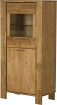 Riva dressoir met 2 deuren, 1 in glas in gefineerd eiken