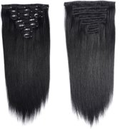 Synthetic Clip In HairExtensions sets kleur Zwart  55cm 140 gram