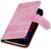 Samsung Galaxy S5 Hoesje Hagedis Bookstyle Roze