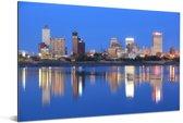 De skyline van Memphis in de nacht onder een blauwe lucht Aluminium 30x20 cm - klein - Foto print op Aluminium (metaal wanddecoratie)
