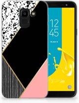 Uniek TPU Hoesje Black Pink Shapes Geschikt voor Samsung Galaxy J6 2018