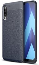 Mobigear Litchi TPU Hoesje Navy Blauw Samsung Galaxy A50