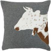 wol grijs kussen koe